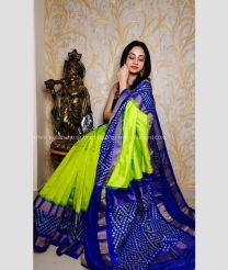 Light Green and Navy Blue color pochampally ikkat pure silk handloom saree with all over checks saree design PIKP0000073