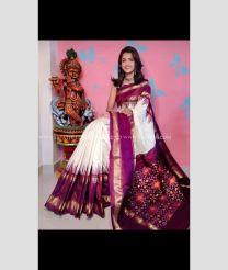 Half White and Maroon color pochampally ikkat pure silk handloom saree with all over checks saree design PIKP0000070