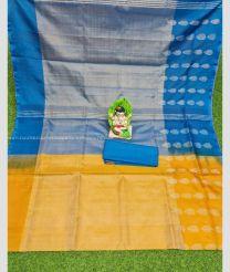 Blue and Yellow color Uppada Tissue handloom saree with all over tissue saree design UPPI0000090