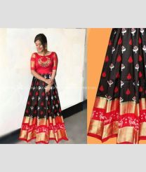 Black and Red color Ikkat Lehengas with all over pochamally design -IKPL0000039