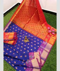 Blue and Orange color Kollam Pattu handloom saree with pochampalli border design KOLP0000014