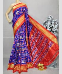 Purple and Red color pochampally ikkat pure silk handloom saree with patola design sarees PIKP0000033