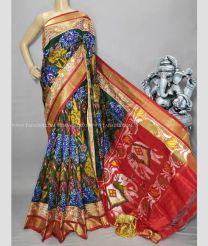 Black Green and Orange color pochampally ikkat pure silk handloom saree with patola design sarees PIKP0000030
