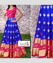 Royal Blue and Pink color Ikkat Lehengas with all over pochampally design -IKPL0000043
