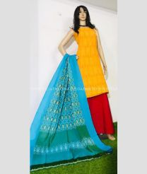 Yellow and Blue Combination color Ikkat Cotton Dress Materials with double ikat cotton dress material design