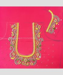 Light Pink with Yellow Combination color Maggam Work with flower design work