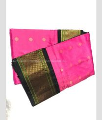 Pink with Mehndi Green Border color kuppadam pattu handloom saree with kanchi boarder in rich and vibrant colours design