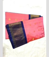 Red with Royal Blue Border color kuppadam pattu handloom saree with kanchi boarder in rich and vibrant colours design