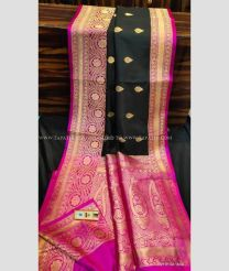 Black with Pink Border color Banarasi Silk handloom saree with rich contrast pallu and blouse with border design