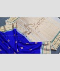 Royal Blue with White Border color gadwal pattu handloom saree with kuttu borders with contrast pallu and blouse design