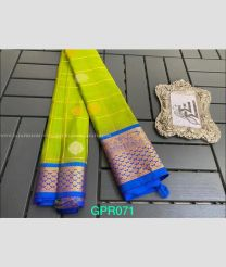 Mehndi Green with Aqua Blue Border color paithani pure silk handloom saree with contrasts blouse with butta design