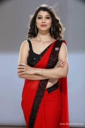 Red with black lace georgette designer saree