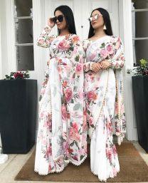 Whiye georgette printed banglori silk saree