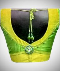 Green And Yellow Patch Work Designer Blouse