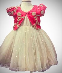 Simple pearl work long frock with over coat